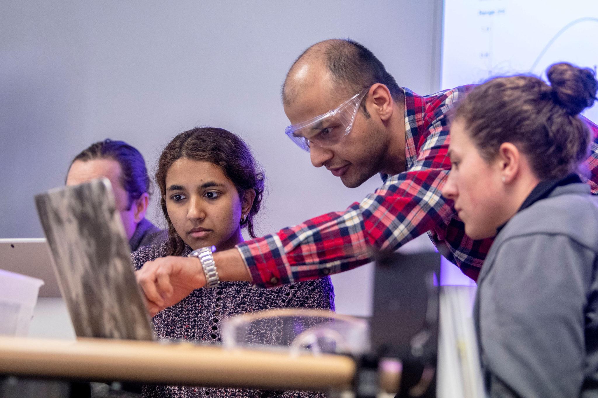 Students conducting a physics experiment