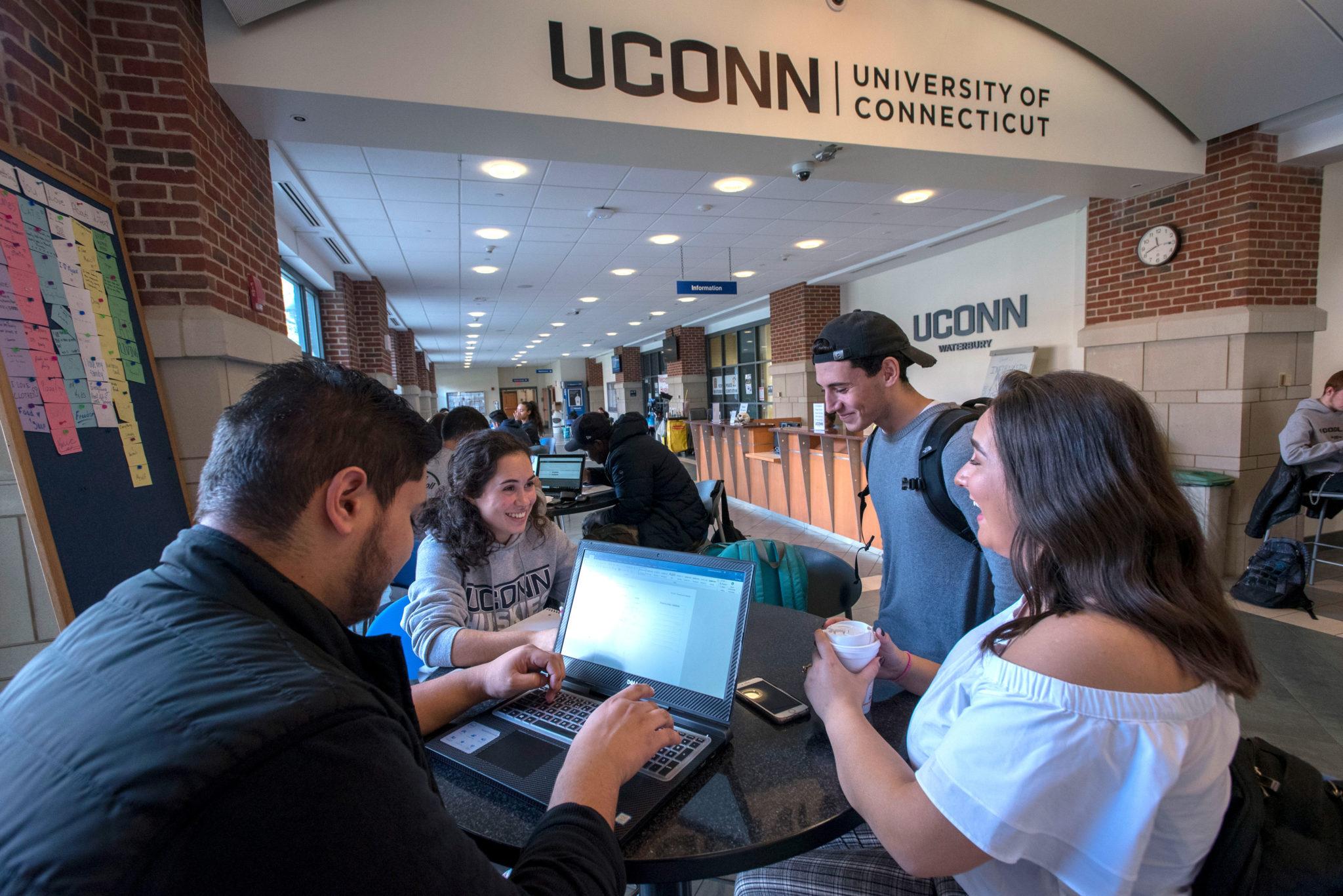 Students studying at Uconn Waterbury