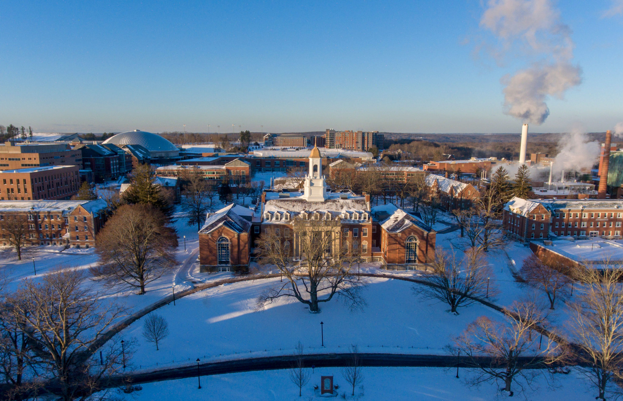 Wilbur Cross in the snow from an aerial view